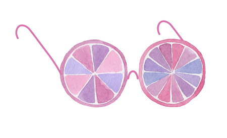 Watercolor funny spectacles from slices of fruit on white background. Hand drawn illustration for your design.