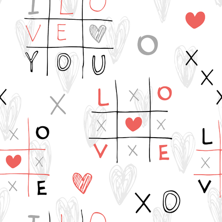 Seamless hand drawn pattern with sketch crosses and toes and hearts. Vector illustrations in doodle style. Illustration