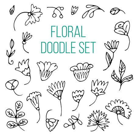 Set of hand drawn sketch flowers in black and white. Vector illustrations in doodle style.