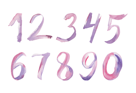 Set of watercolor hand written purple numbers. Illusration with calligraphic sign isolated on white background. 스톡 콘텐츠