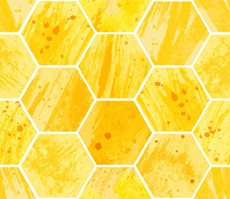 Abstract geometric seamless pattern with honeycomb. Watercolor yellow hexagon with texture of stain, spray, splash and spot, fashion elements. Vector illustration.