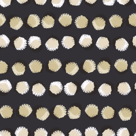 Vector seamless pattern with round brush strokes. Fashion monochrome texture with hand drawn circle. White and black polka dot abstract background for print, textile, fabric, wallpaper.