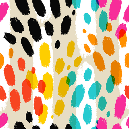 Vector seamless pattern with animal print. Trendy abstract texture with brush strokes. Fashion modern illustration.