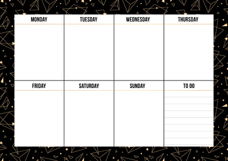 Weekly planner with gold geometric shape on black background. Layout sheet with place for notes. Vector template page for print, office, school. Illustration