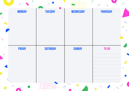 Weekly planner page with geometric shape in Memphis style. Template for organizer, notes, print, office and school. Vector background.