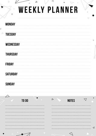 Weekly planner page with place for notes. Black and white background with geometric shape. Vector monochrome template for print, office, school.