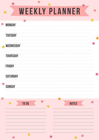 Weekly planner with gold and pink dots. Layout sheet with place for notes. Vector template page for print, office, school. Çizim