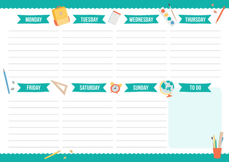 Cute weekly planner with hand drawn school elements. Template with place for notes. Vector illustration for print, office, school.