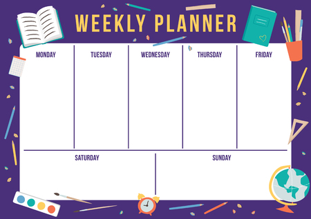 Cute weekly planner with hand drawn school elements. Template with place for notes. Vector illustration for print, office, school. Vectores
