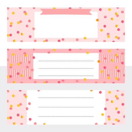 Druckbare Lesezeichen mit goldenen und rosa Aquarellpunkten. Vorlage mit Platz für Notizen für Druck, Büro, Schule. Vektor-Illustration