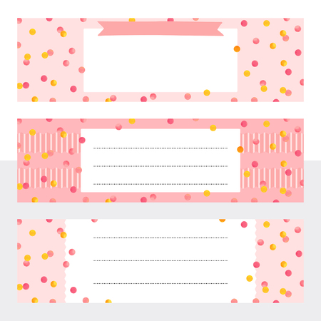 Printable bookmarks with gold and pink watercolor dots. Template with place for notes for print, office, school. Vector illustration