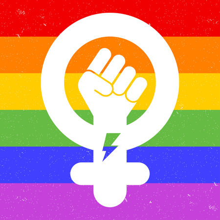 Symbol of feminist movement on rainbow background. Icon of female gender. Woman hand with her fist raised up. Girl Power concept. Vector illustration.