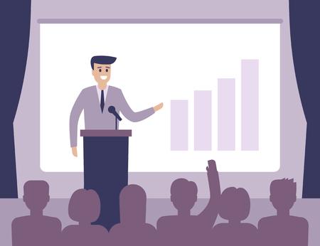 Speaker view diagram on board, business presentation in hall. Workshop, politician or motivation concept. Vector illustration flat style. Stock Illustratie