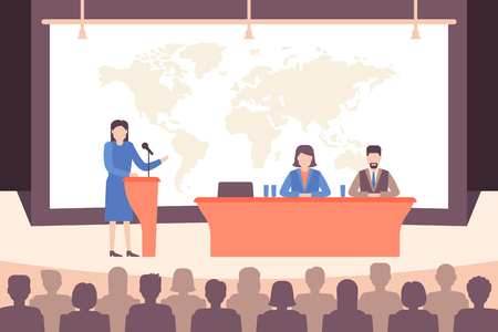 Speaker ang people group at conference in holl. Business meeting and education concept. Vector illustration flat style. Illustration