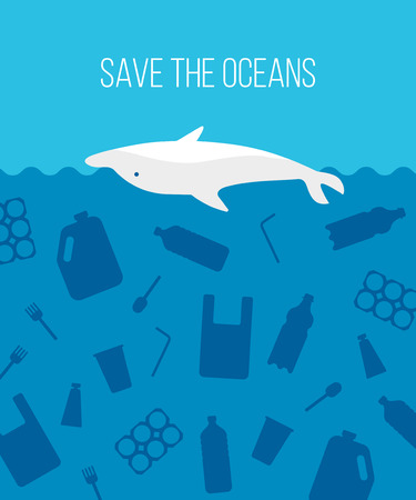 Banner stop ocean plastic pollution. Ecological poster with dolphin dead in plastic garbage on blue background. Water waste problem concept. Vector flat illustration