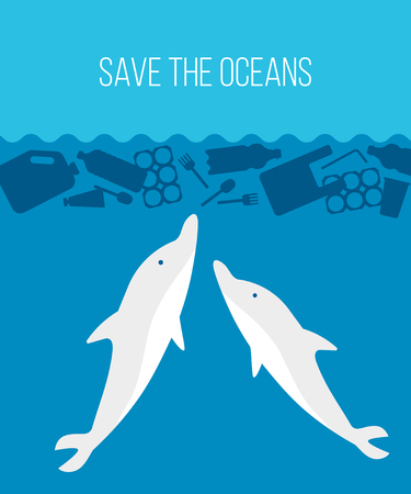 Banner stop ocean plastic pollution. Ecological poster with dolphin under block of plastic garbage. Water waste problem concept SAVE THE OCEANS. Vector flat illustration
