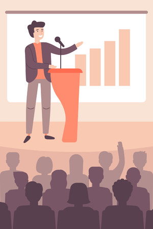 Speaker view diagram on board, business presentation in hall. Workshop, politician or motivation concept. Cartoon character of man. Vector illustration flat style. Ilustración de vector
