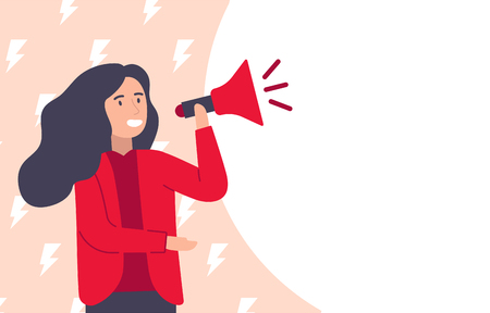 Woman speaking on megaphone for feminist support vector. Happy Women's Day concept, template for message. Cartoon character of girl. Vector illustration flat style.