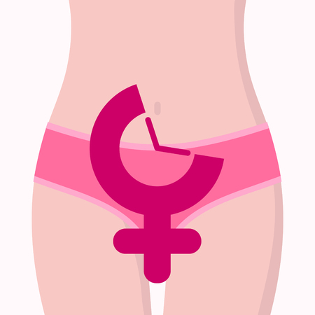 Female body fragment in bikini with gender symbol, clock. Concept of menstruation period, pregnancy or menopause. Vector illustration in flat style