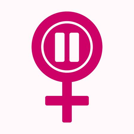 Icono de la menopausia en color rosa. Símbolo del período de la menopausia. Concepto médico, sanitario y femenino. Ilustración de vector de estilo plano