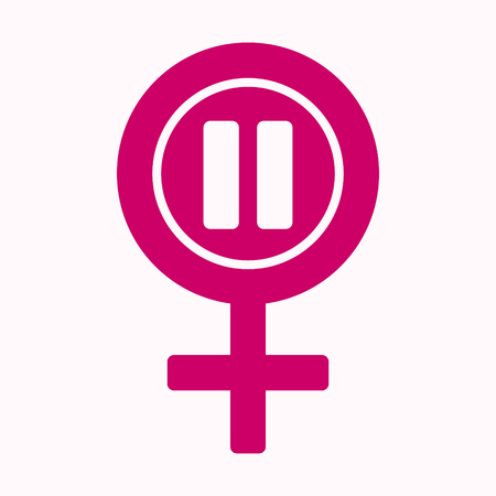 Menopause icon in pink color. Symbol of menopause period. Medical, healthcare and feminine concept. Vector illustration in flat style