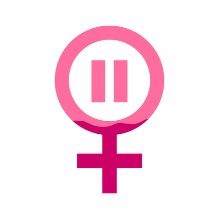 Female gender icon with pause and blood in pink color. Concept of menstruation period, pregnancy or menopause. Vector illustration in flat style