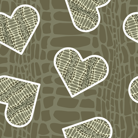 Seamless pattern with crocodile skin in shape of heart. Trendy animal print. Fashion vector illustration for print, design, t-shirt.