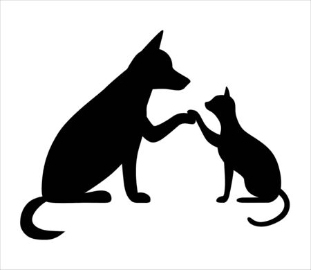 Dog and cat together. Cute dog with cat are best friends, give a five, cartoon pets. Vector illustration for veterinary clinic, shop. Ilustracje wektorowe
