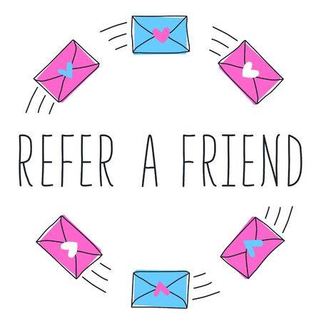 Refer a friend text with blue and pink email or message with heart. Hand drawn banner in flat style. Vector illustration for business, marketing and advertising