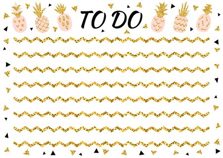 Creative to do list with gold glitter pineapple and triangle. Stylish fashion organizer and schedule. Planner template for print, wedding, school. Vector illustration.