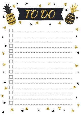 Glitter pineapples in scandinavian style. Stylish fashion organizer and schedule, black and gold color. Planner template for print, wedding, school. Vector illustration.