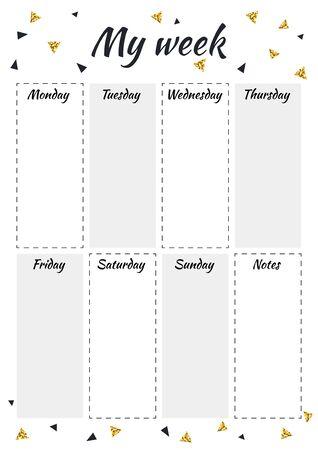 스칸디나비아 스타일의 검은색과 금색 삼각형이 있는 크리에이티브 플래너 MY WEEK. 세련된 패션 주최자 및 일정. 인쇄, 결혼식, 학교를 위한 기하학적 패턴입니다. 벡터 일러스트 레이 션. 벡터 (일러스트)