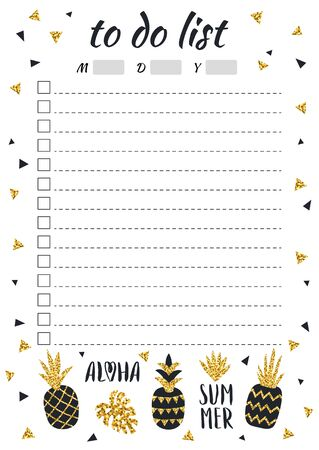 Creative to do list with gold glitter pineapples in scandinavian style. Stylish fashion organizer and schedule, black and gold color. Planner template with space for date. Vector illustration.