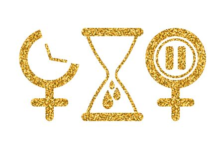 Set of gynecology icon in gold glitter color. Concept of menstruation period, pregnancy or menopause. Vector illustration
