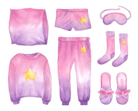 Watercolor set with clothes for sleep in pink gradient color. Hand drawn  pajamas in watercolor. Illustration fashion print.