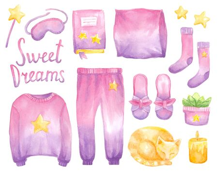 Watercolor set with clothes for sleep in pink gradient color. Hand drawn  homes object in watercolor: pajamas, cat, stars. Illustration fashion print.