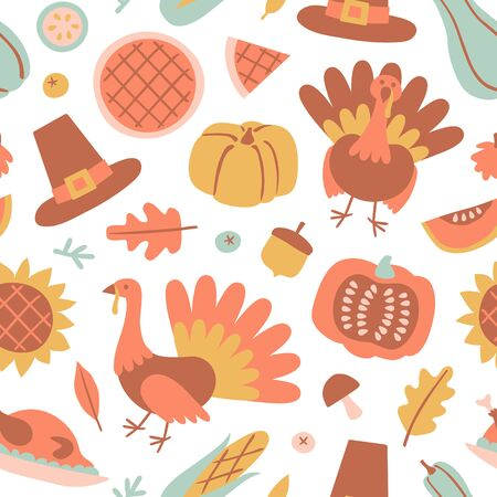 Happy Thanksgiving Day seamless pattern with holiday objects in flat style. Hand drawn  background with pumpkin, turkey, pie in pastel color. Vector illustration for design, fabric or wrapping paper. Illustration