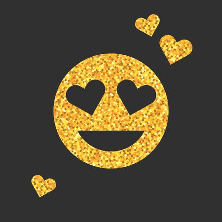 Golden glitter emoji icon with emotion of love on black background. Emoticons sticker with kiss. Luxury emoji symbol for social media, blog or chat. Isolated vector illustration