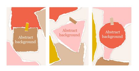 Set of abstract background with torn paper pieces in pastel colors and note. Greeting card template with design elements in scandinavian style. Paper cut collage design. Modern vector Illustration.