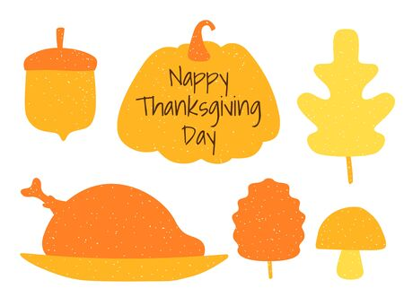Autumn set of silhouette elements: leaves, pumpkin, turkey, acorn and inscription Happy Thanksgiving Day. Thanksgiving banner in flat style and stamp. Orange autumn stickers. Vector illustration. Çizim