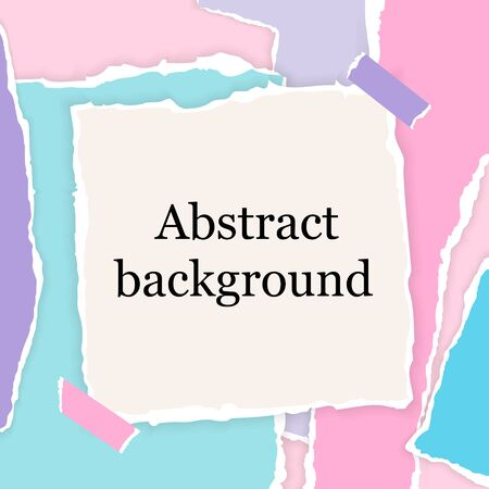 Abstract square background with torn paper pieces in bright colors for social media posts. Greeting banner template with elements in paper cut collage design. Ð¡ardboard vector Illustration.