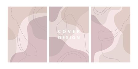 Fashion set of abstract backgrounds with organic shapes and hand draw line in pastel colors. Modern design template with space for text. Minimal stylish cover for branding design. Vector illustration Standard-Bild - 131899503