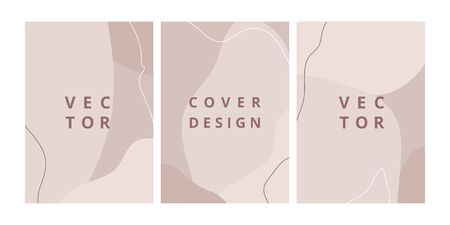 Fashion set of abstract backgrounds with organic shapes and hand draw line in pastel colors. Modern design template with space for text. Minimal stylish cover for branding design. Vector illustration Standard-Bild - 131899511