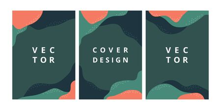 Set of abstract banner layout template with organic wave shapes. Modern design background in green color. Minimal stylish cover for business, flyer, brochure and branding design. Vector illustration