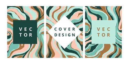Fashion set of abstract banner with malachite texture. Modern design template with freehand striped background. Stylish cover for business, brochure and branding design. Vector illustration