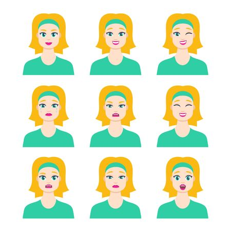 Set of young female icon with emotions in cartoon style. Girl blonde avatar profile with facial expression. Characters portraits in bright colors. Isolated vector illustration in flat design Foto de archivo - 133739391
