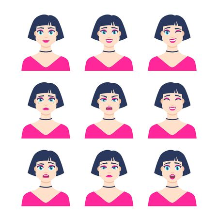 Set of young female icon with emotions in cartoon style. Girl avatar profile with facial expression. Characters portraits in bright colors. Isolated vector illustration in flat design Foto de archivo - 133739398