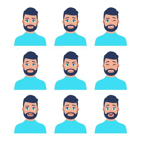 Set of young male icon with emotions in cartoon style. Man avatar profile with facial expression. Characters portraits in bright colors. Isolated vector illustration in flat design