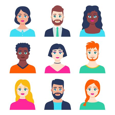 Set of avatar profile icon with young male and female in flat style. Different faces of smiling young people, men and women characters portraits. Bright colors. Isolated vector illustration. Иллюстрация