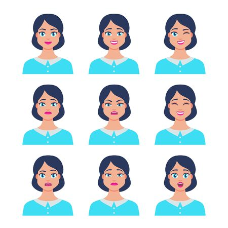 Set of young female icon with emotions in cartoon style. Girl avatar profile with facial expression. Characters portraits in bright colors. Isolated vector illustration in flat design Foto de archivo - 133739405